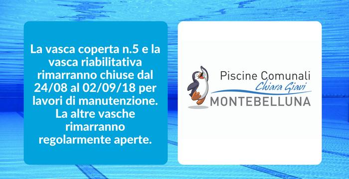 CHIUSURA VASCA RIABILITATIVA e VASCA INTERNA 5 dal 24/08 al 02/09/18.