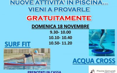 "PROVA GRATUITAMENTE LE NUOVE ATTIVITA' IN PISCINA, ""SURF FIT"" e ""ACQUA CROSS""."