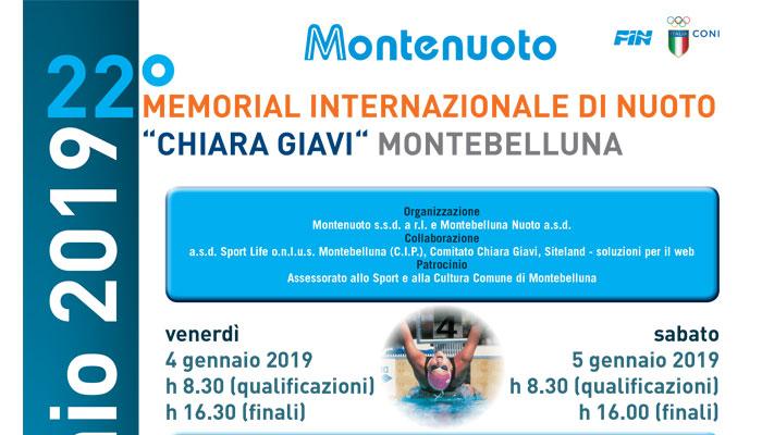 """4-5 gennaio 2019 – 22° MEMORIAL INTERNAZIONALE DI NUOTO """"CHIARA GIAVI"""" MONTEBELLUNA"""