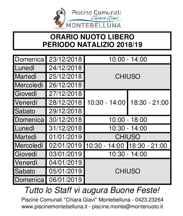 ORARI NUOTO LIBERO NATALE 2018