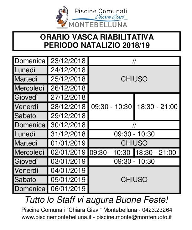 ORARI VASCA RIABILITATIVA NATALE 2018