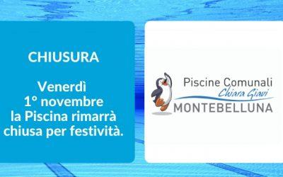 VENERDI' 1° NOVEMBRE PISCINA CHIUSA PER FESTIVITA'