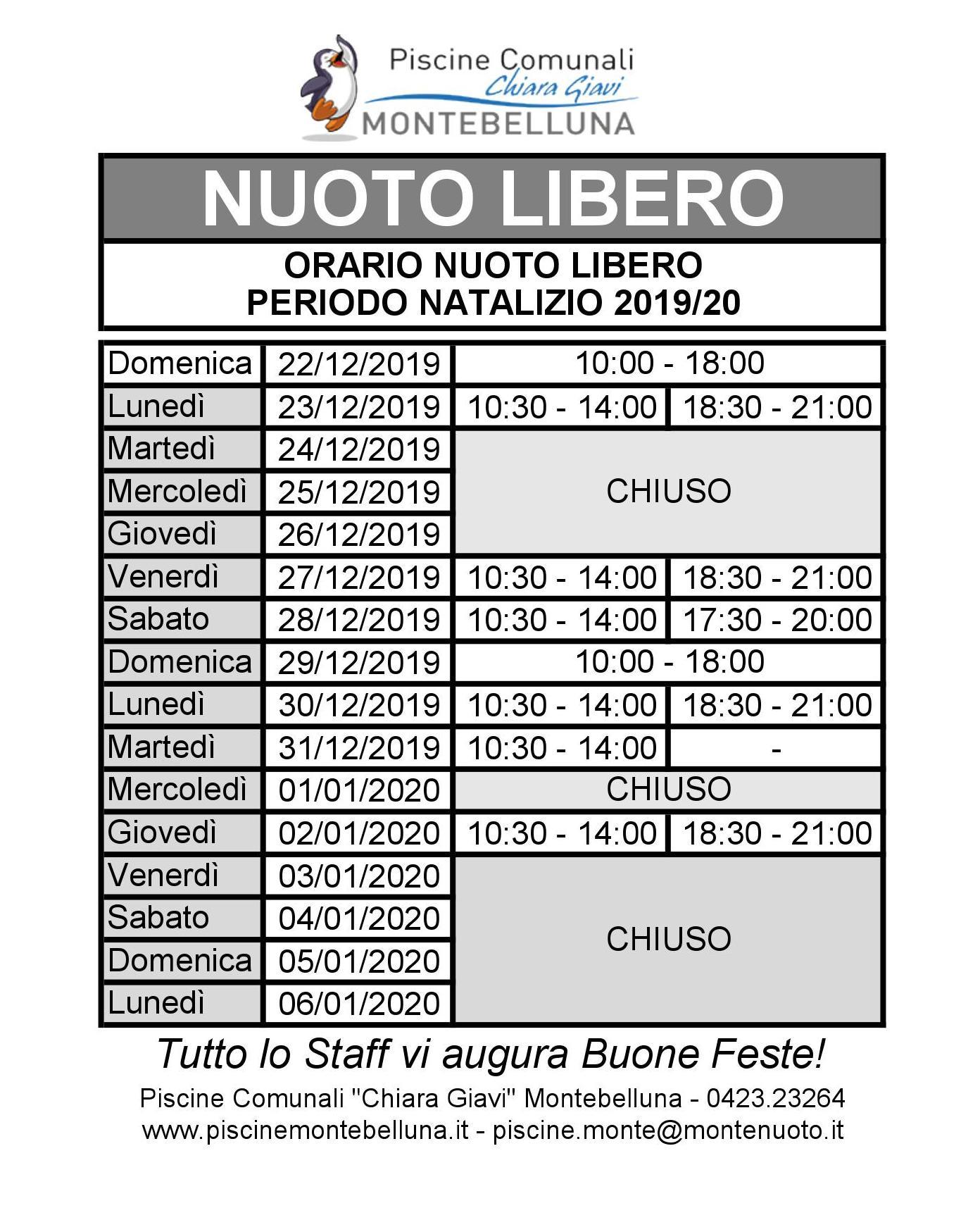 orari nuoto libero periodo natalizio 2019-20