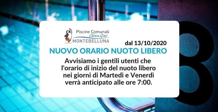 NUOVO ORARIO NUOTO LIBERO DAL 13 OTTOBRE 2020